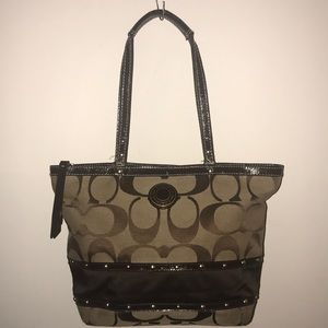 Signature Coach Stripe Studded Sateen Tote Bag